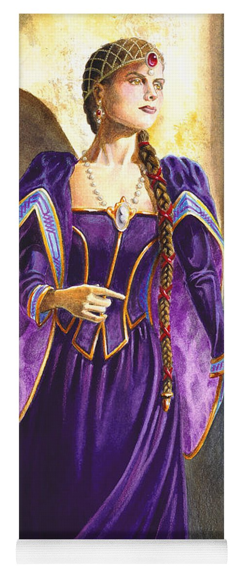 Camelot Yoga Mat featuring the painting Lady Ettard by Melissa A Benson