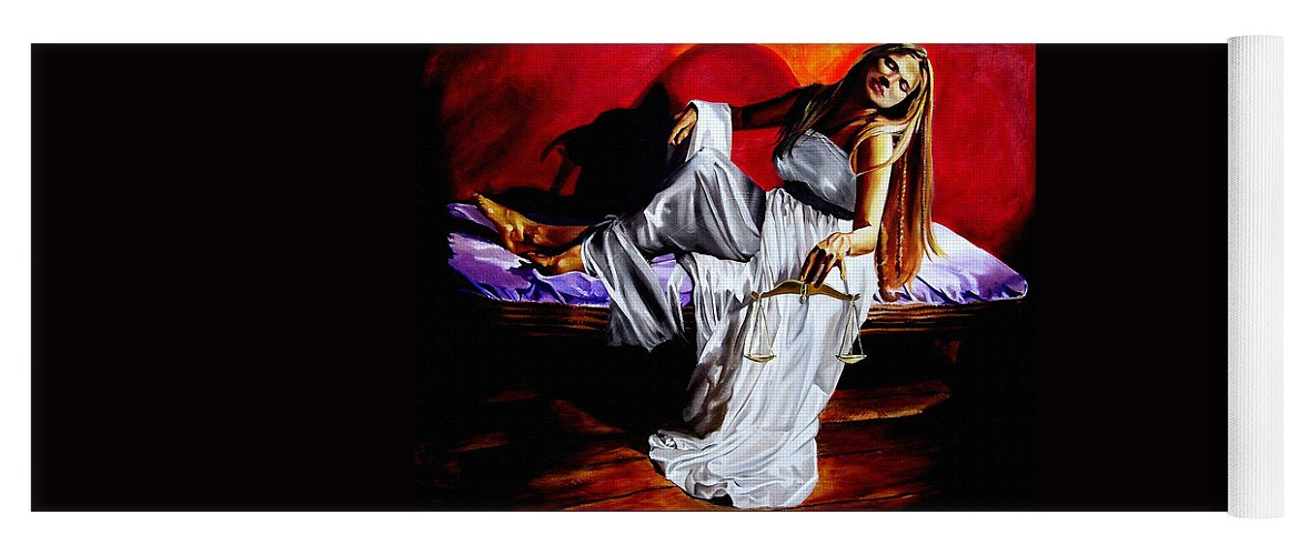 Law Art Yoga Mat featuring the painting Lady Justice by Laura Pierre-Louis
