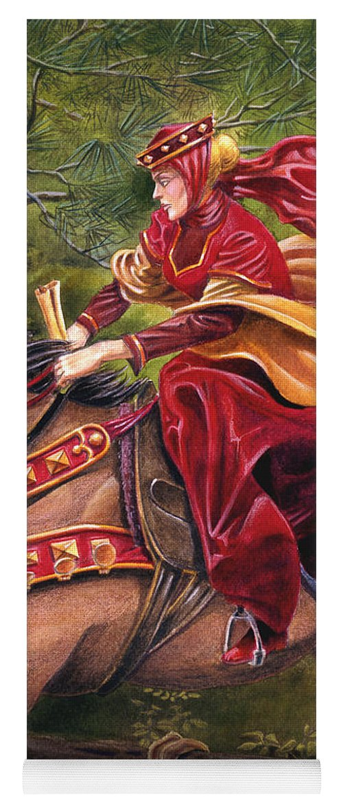 Camelot Yoga Mat featuring the painting Lady Lunete by Melissa A Benson