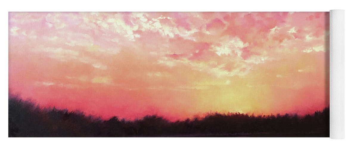 Landscape Yoga Mat featuring the painting Lake Sunset by Teri Rosario
