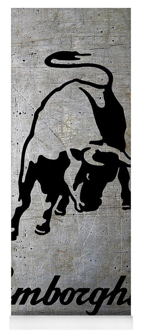 Lamborghini Bull Logo On Shop Metal Yoga Mat For Sale By Daniel Hagerman