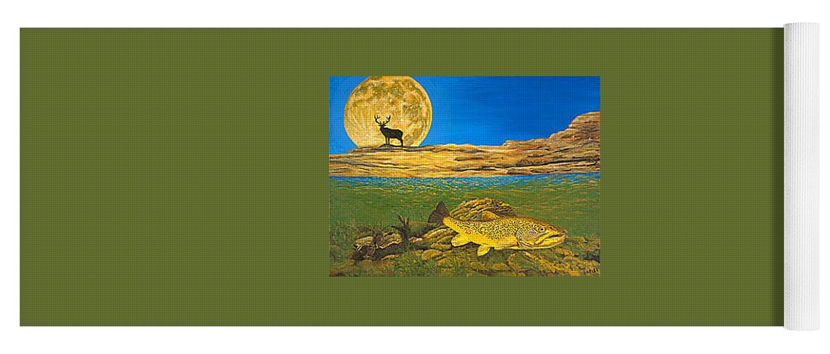Artwork Yoga Mat featuring the painting Landscape Art Fish Art Brown Trout TIMING Bull Elk Full Moon Nature Contemporary Modern Decor by Patti Baslee