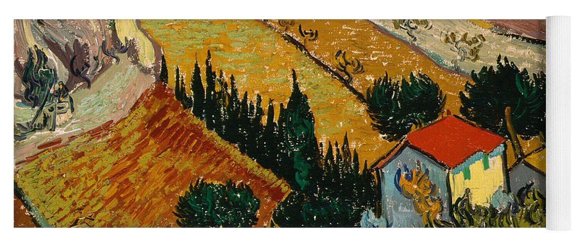 Van Gogh Yoga Mat featuring the painting Landscape With House And Ploughman by Van Gogh