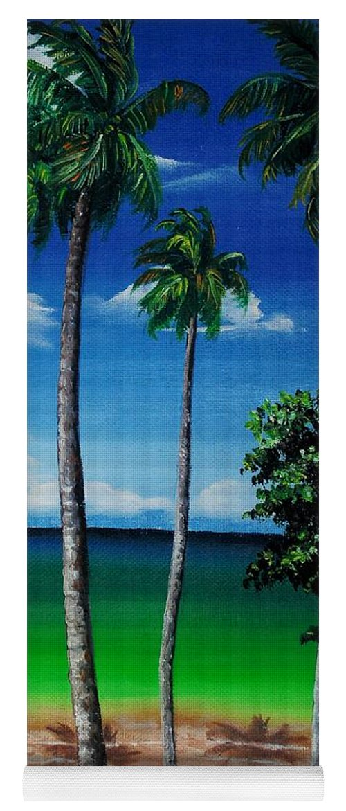 Trinidad Seascape Yoga Mat featuring the painting Las Cuevas Bay by Karin Dawn Kelshall- Best