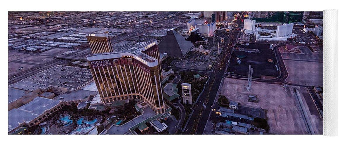 Las Vegas Yoga Mat featuring the photograph Las Vegas Strip Aloft by Steve Gadomski