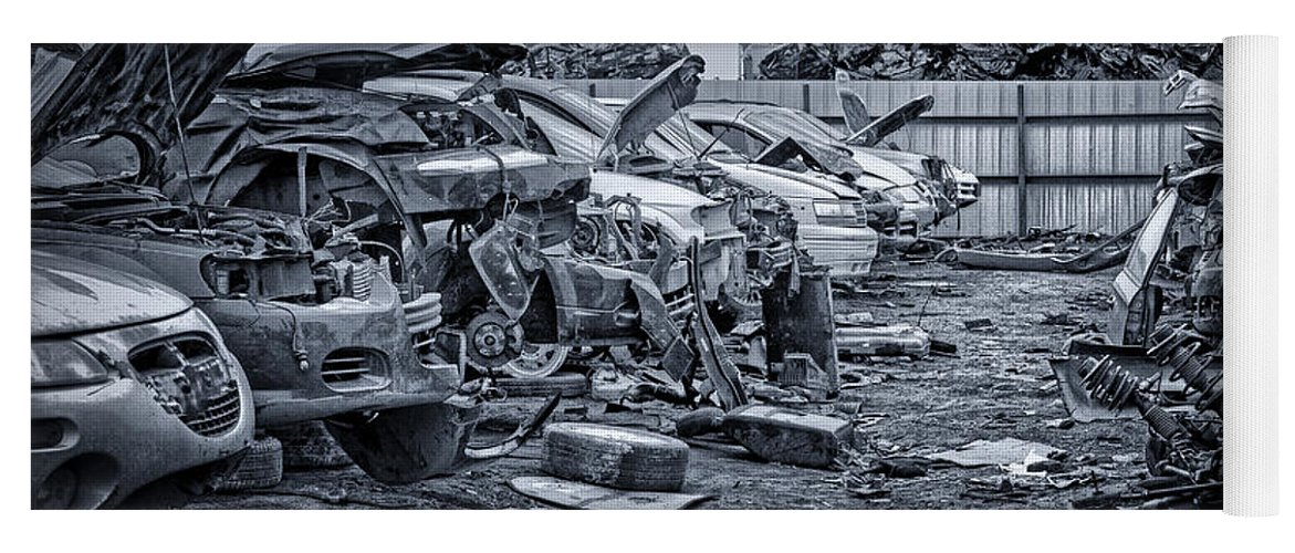 Salvage Yard Yoga Mat featuring the photograph Last Journey - Salvage Yard by Nikolyn McDonald