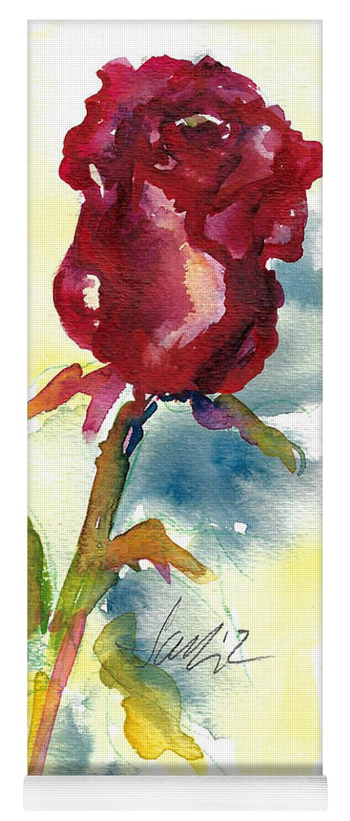 Rose Painting Yoga Mat featuring the painting Last Rose Of Summer by Jacki Kellum