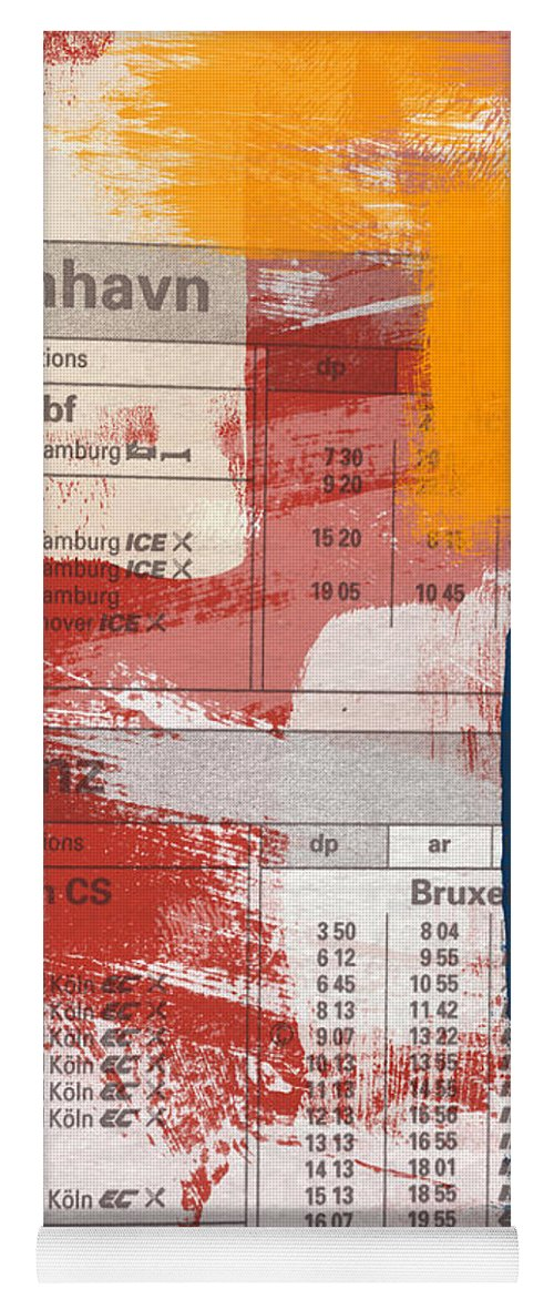 Abstract Yoga Mat featuring the mixed media Last Train To Kobenhavn- Art by Linda Woods by Linda Woods