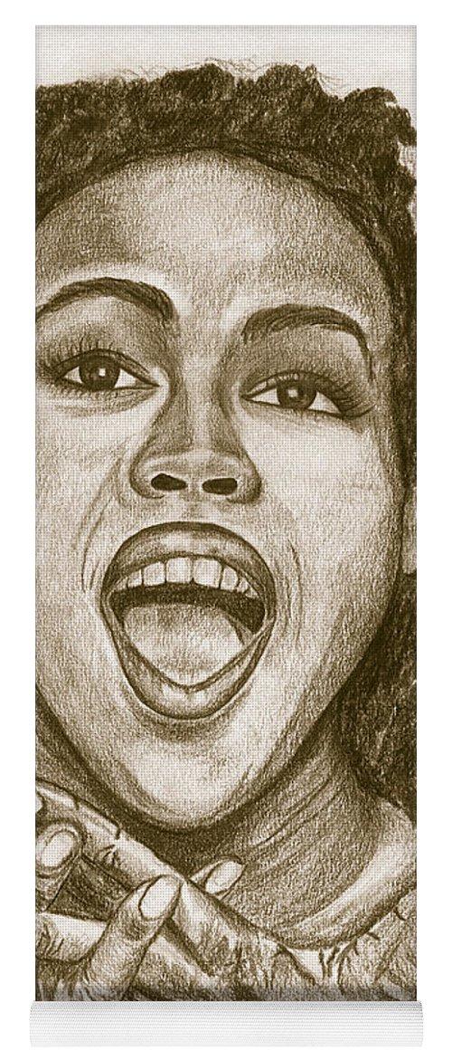 Lauryn Hill Yoga Mat featuring the painting Lauryn Hill by Debbie DeWitt