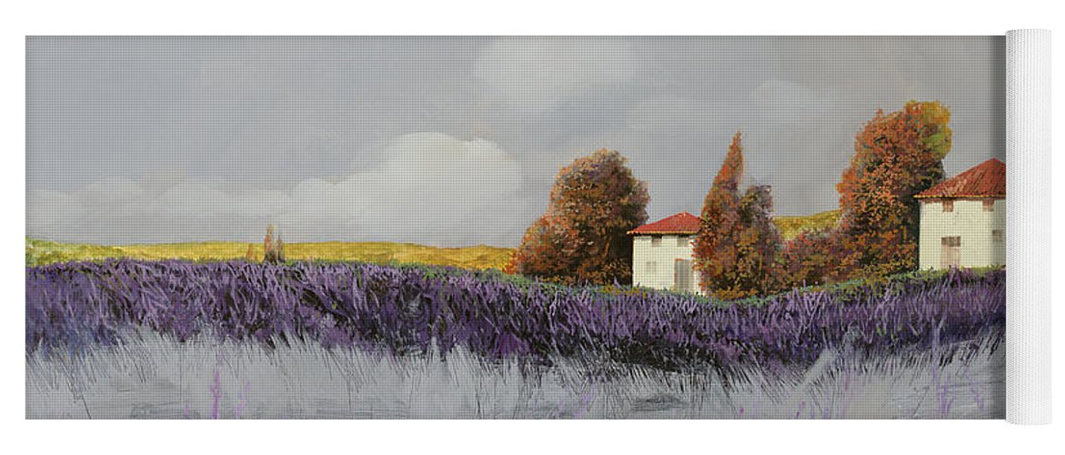 Lavender Yoga Mat featuring the painting Lavanda Orizzontale by Guido Borelli
