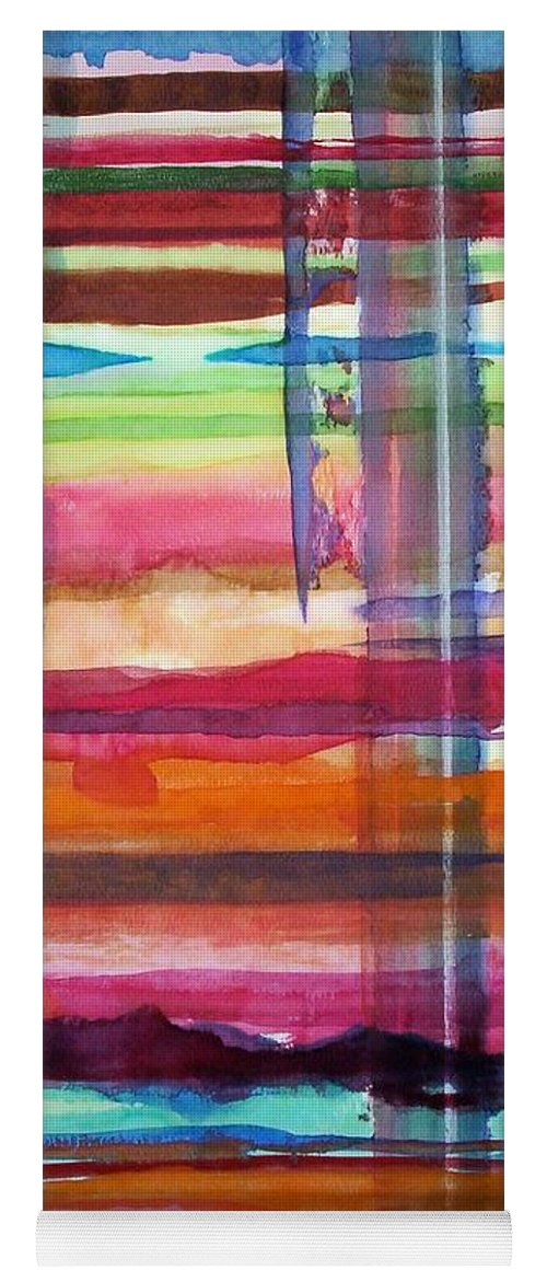 Abstract Yoga Mat featuring the painting Layered by Suzanne Udell Levinger