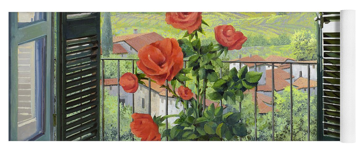 Landscape Yoga Mat featuring the painting Le Persiane Sulla Valle by Guido Borelli