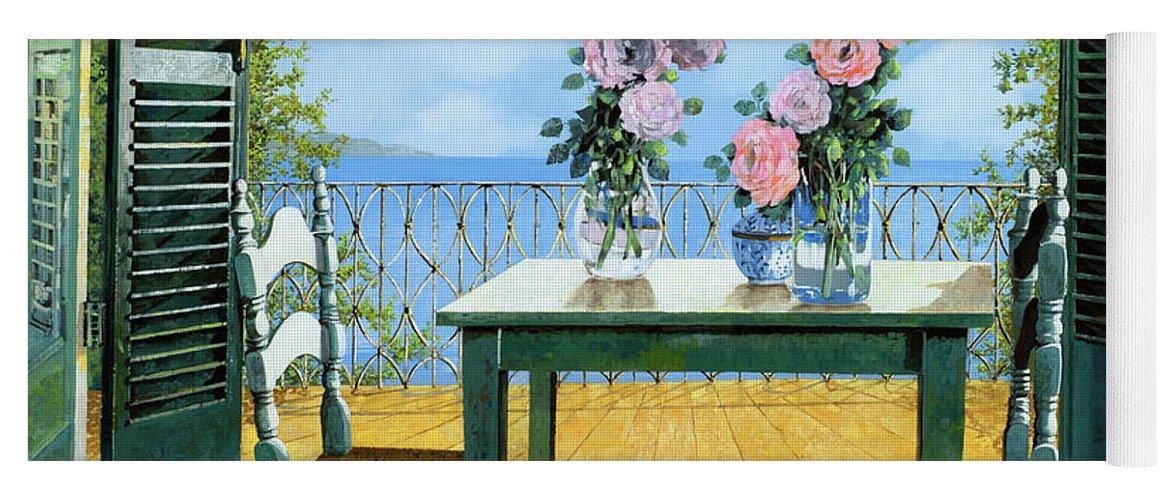 Terrace Yoga Mat featuring the painting Le Rose Sul Tavolo Al Balcone by Guido Borelli