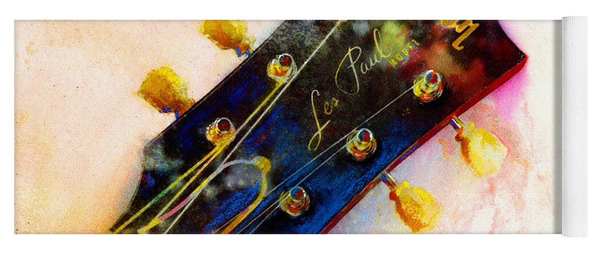Guitar Art Yoga Mat featuring the painting Les Is More by Andrew King