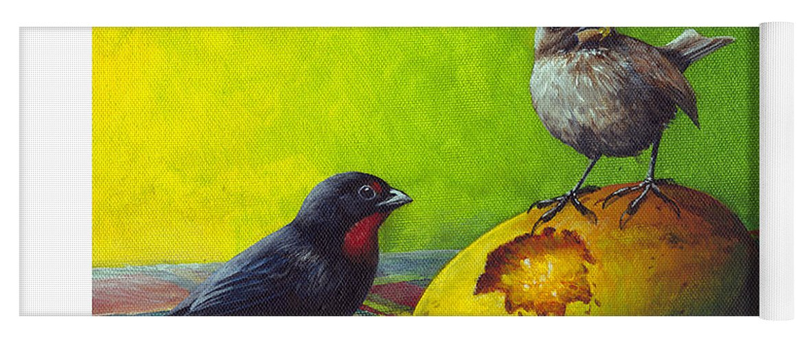Chris Cox Yoga Mat featuring the painting Lesser Antillean Bullfinches And Mango by Christopher Cox