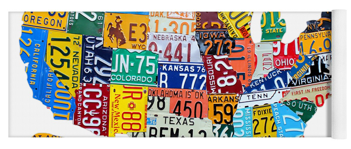 License Plate Map Of The United States Yoga Mat for Sale by Design