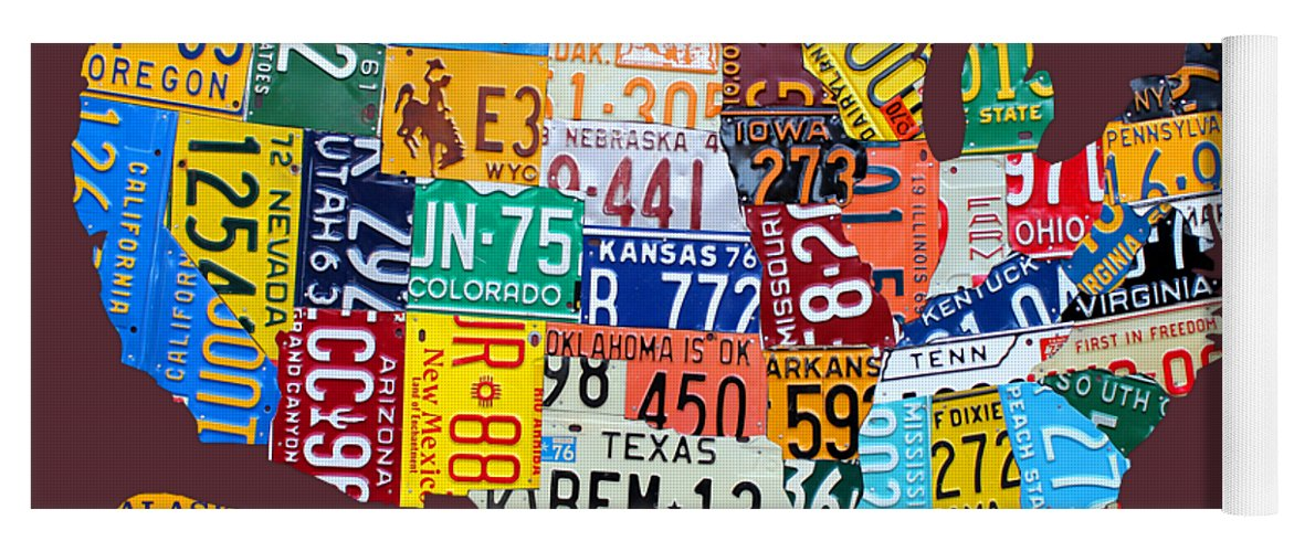 License Plate Map Of The United States Yoga Mat For Sale By Design - Us map with license plates