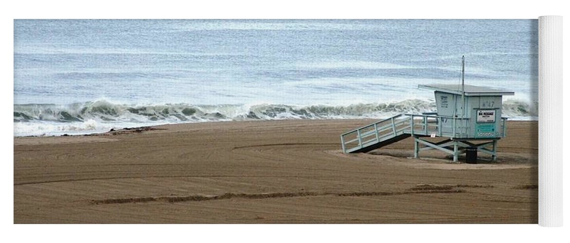 Beach Yoga Mat featuring the photograph Life Guard Stand - Color by Shari Chavira