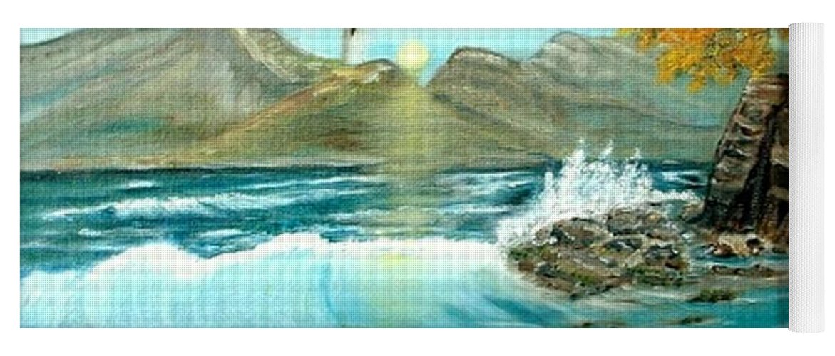 Lighthouse Ocean Painting Rocks Trees Yoga Mat featuring the painting Lighthouse by Kenneth LePoidevin