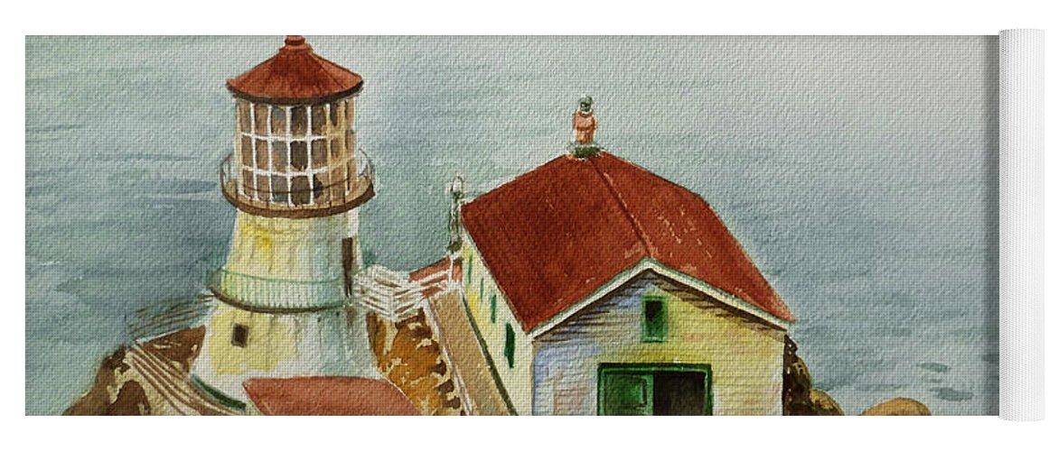 Lighthouse Yoga Mat featuring the painting Lighthouse Point Reyes California by Irina Sztukowski