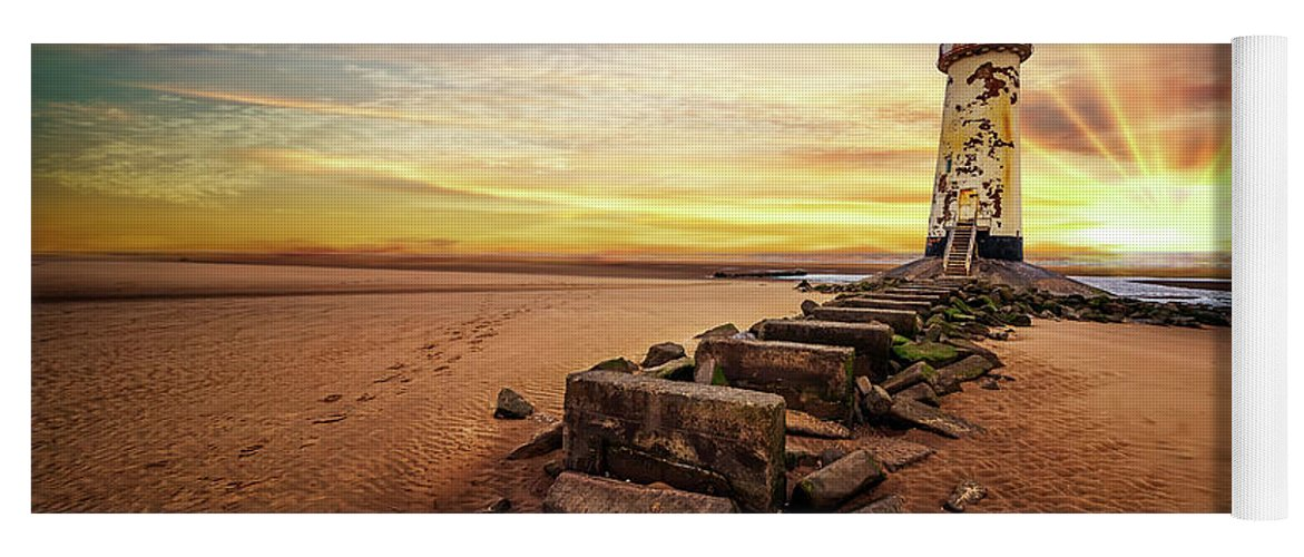 Lighthouse Yoga Mat featuring the photograph Lighthouse Sunset Wales by Adrian Evans