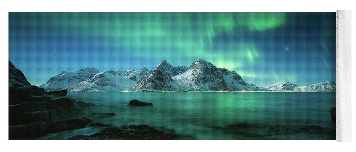 Landscape Yoga Mat featuring the photograph Lights Above Lofoten by Tor-Ivar Naess