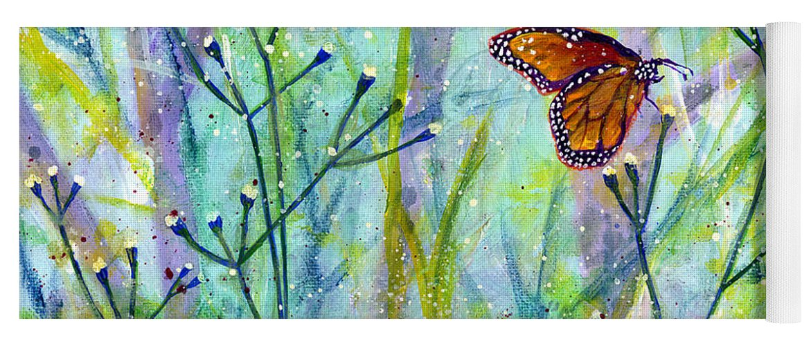 Butterfly Yoga Mat featuring the painting Lingering Memory 1 by Hailey E Herrera