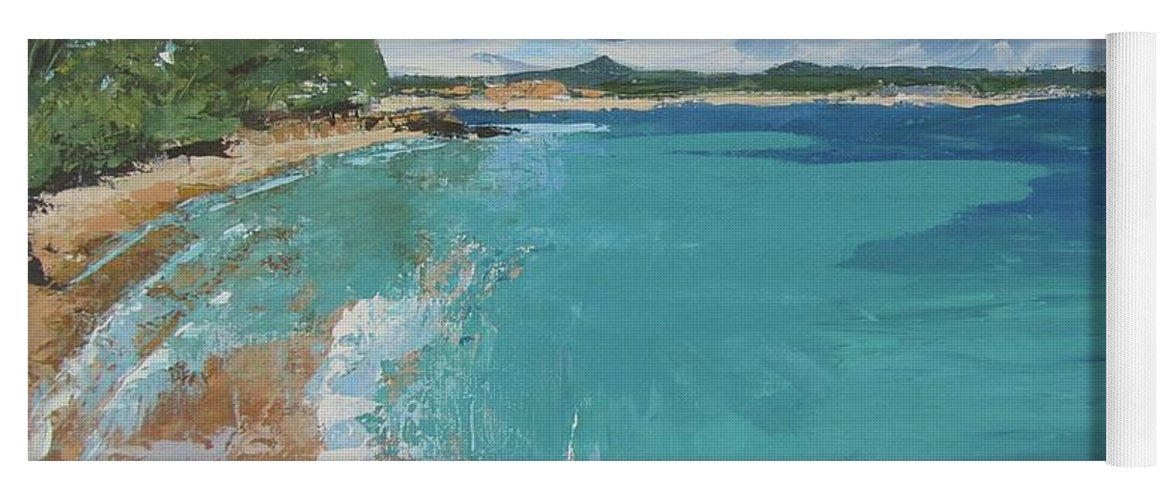 Seascape Yoga Mat featuring the painting Little Cove View by Chris Hobel