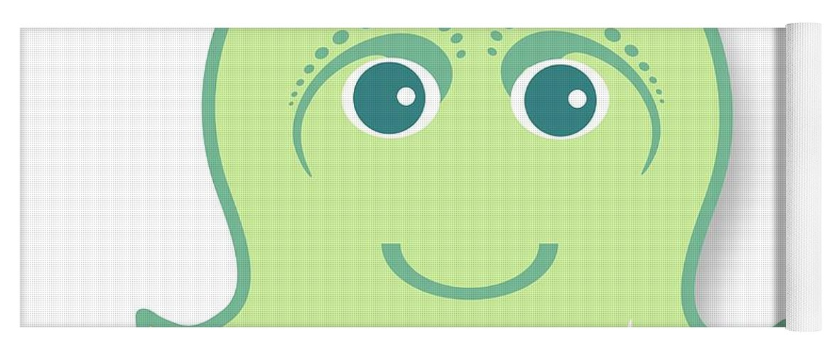 Little Octopus Yoga Mat featuring the digital art Little Cute Green Octopus by Ainnion