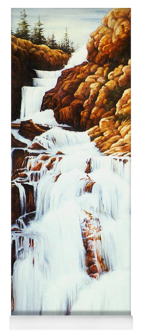 Waterfall Yoga Mat featuring the painting Little Firehole Falls by Teri Rosario