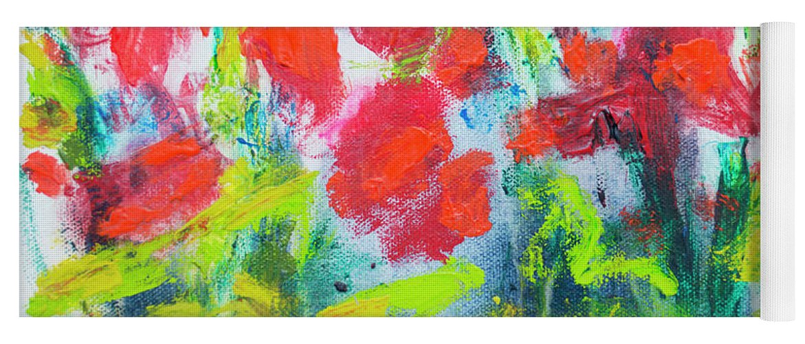 Abstract Yoga Mat featuring the painting Little Garden 01 by Claire Desjardins