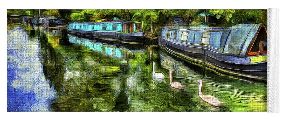 Swans Yoga Mat featuring the photograph Little Venice London Art by David Pyatt