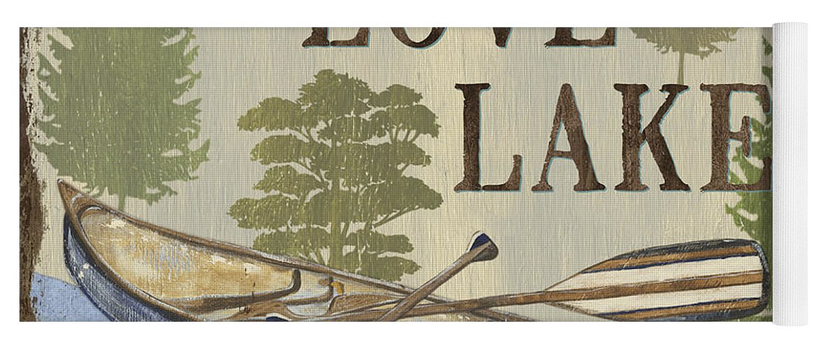 Lake Yoga Mat featuring the painting Live, Love Lake by Debbie DeWitt