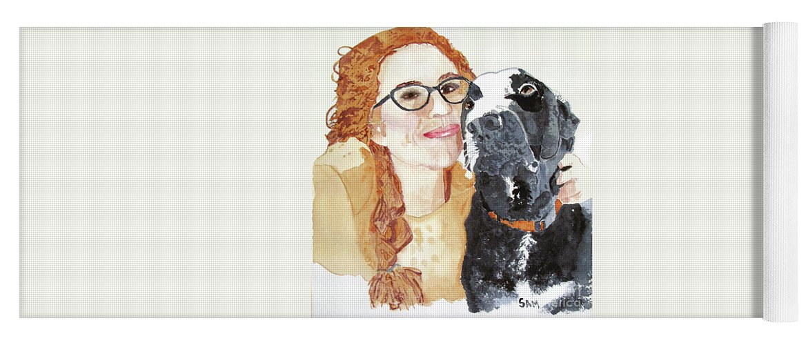 Girl Yoga Mat featuring the painting Livvy And Amos by Sandy McIntire