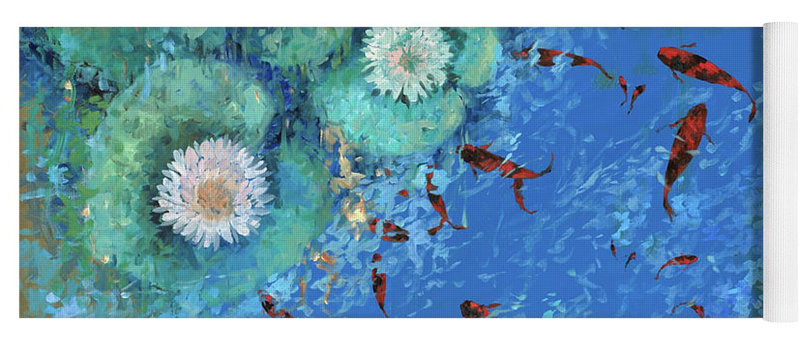 Fishscape Yoga Mat featuring the painting Lo Stagno by Guido Borelli