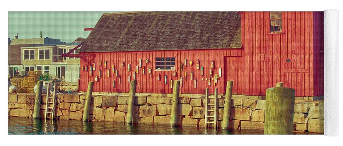 Lobster Shack; Shack; Harbor; Rockport; Massachusetts; Rockport Harbor; Seagull Yoga Mat featuring the photograph Lobster Shack by Mick Burkey