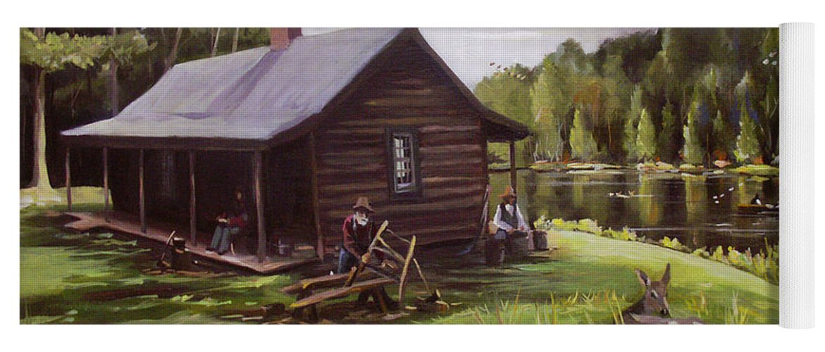 Log Cabin Yoga Mat featuring the painting Log Cabin by the Lake by Nancy Griswold