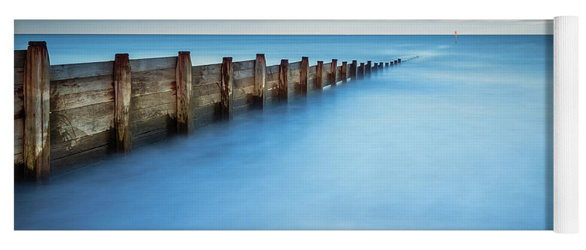 Northumberland Yoga Mat featuring the photograph Long Exposure Of Blyth Beach Groyne by David Head