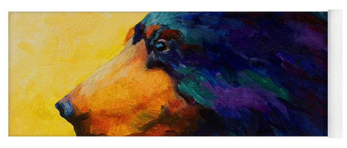 Bear Yoga Mat featuring the painting Looking On II - Black Bear by Marion Rose