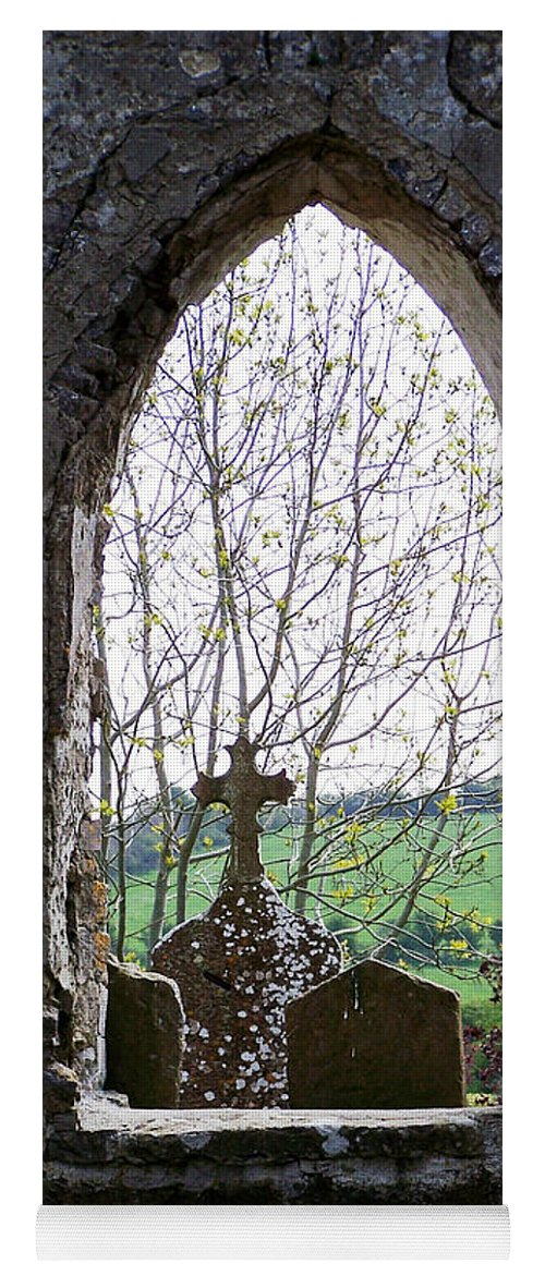 Ireland Yoga Mat featuring the photograph Looking Out Fuerty Church Roscommon Ireland by Teresa Mucha