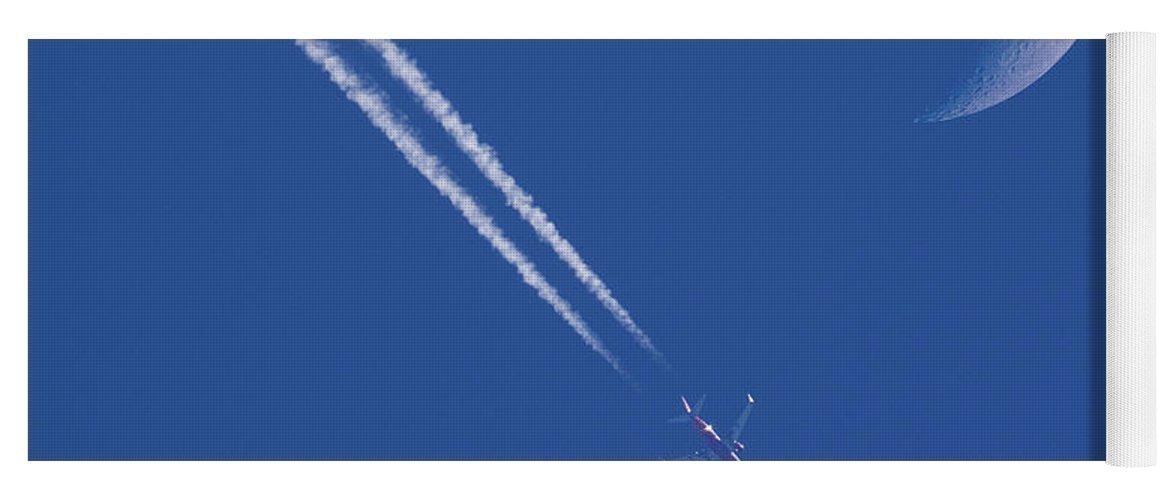 Jet Trail Yoga Mat featuring the photograph Looking Skyward by Jurgen Lorenzen