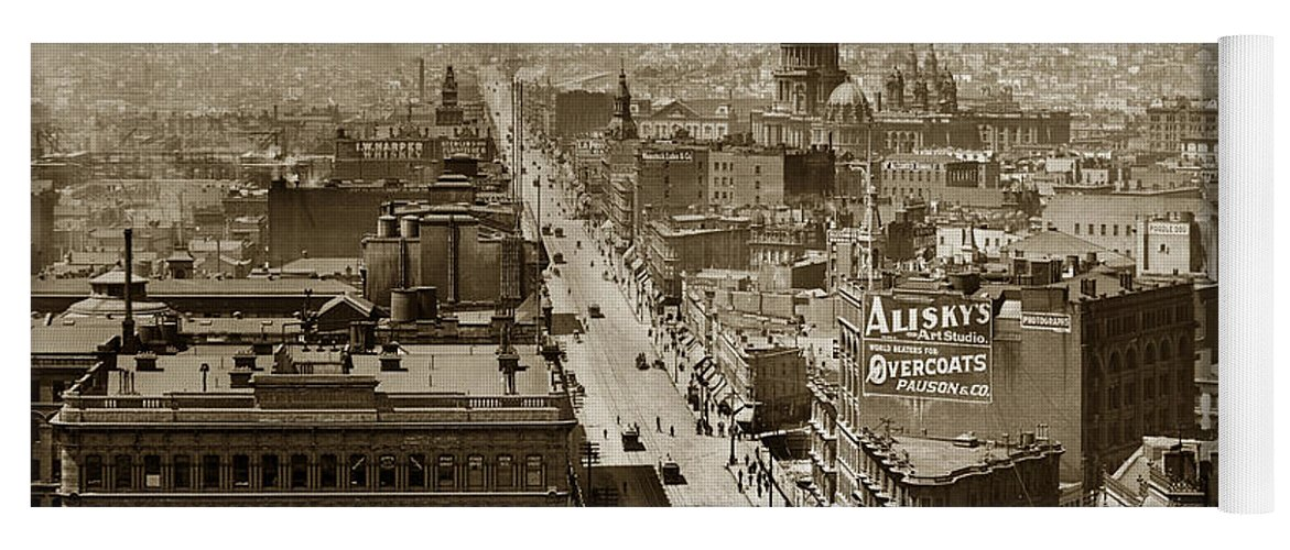 San Francisco Yoga Mat featuring the photograph Looking Up Market Street From The Call Building With City Hall Circa 1900 by California Views Archives Mr Pat Hathaway Archives