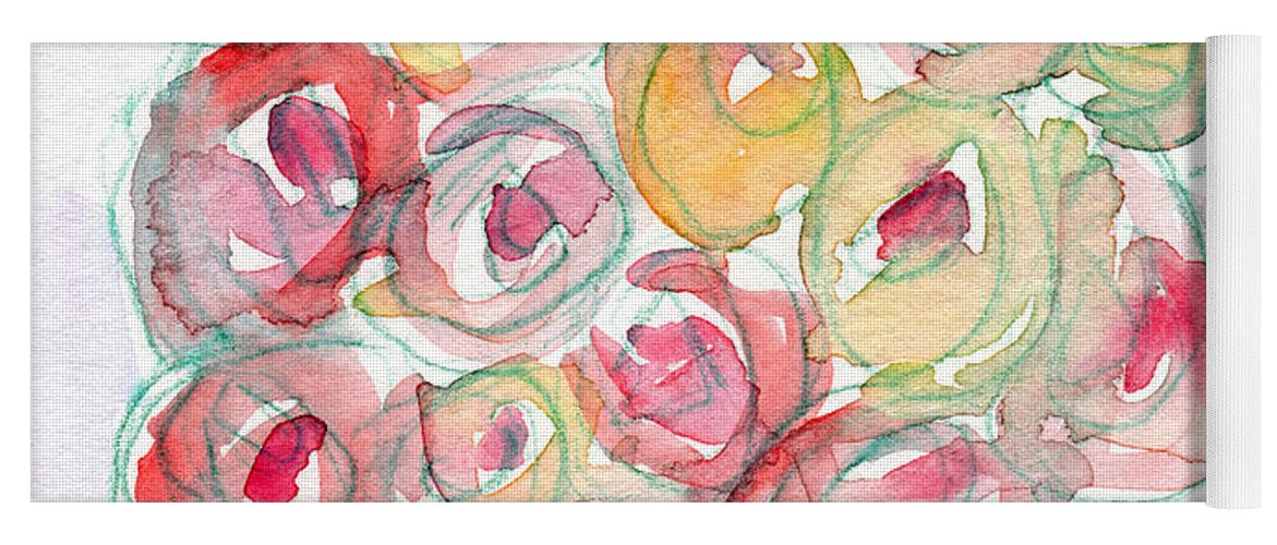 Roses Yoga Mat featuring the mixed media Love And Roses- Art By Linda Woods by Linda Woods