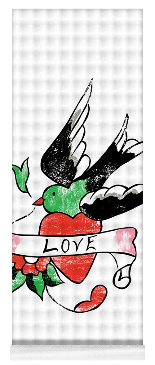 Tattoo Yoga Mat featuring the digital art Love Bird Tattoo by Bob Newman