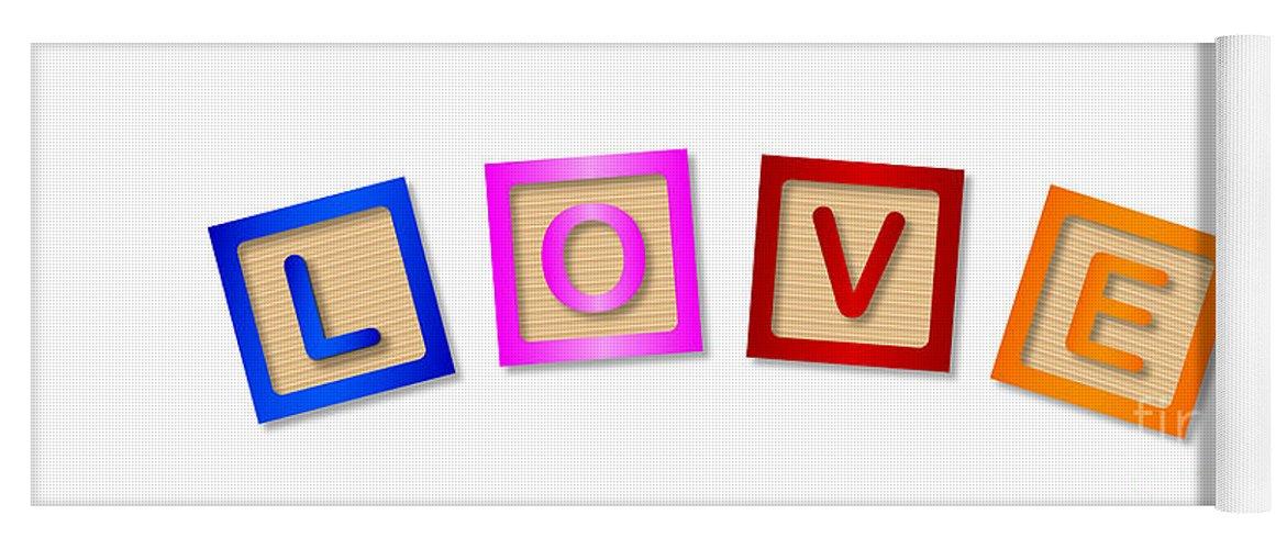 Love Yoga Mat featuring the digital art Love Blocks by Bigalbaloo Stock