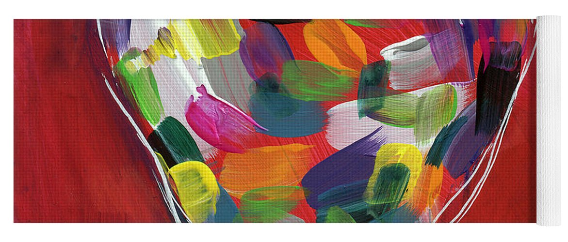 Heart Yoga Mat featuring the painting Love Is Colorful - Art by Linda Woods by Linda Woods