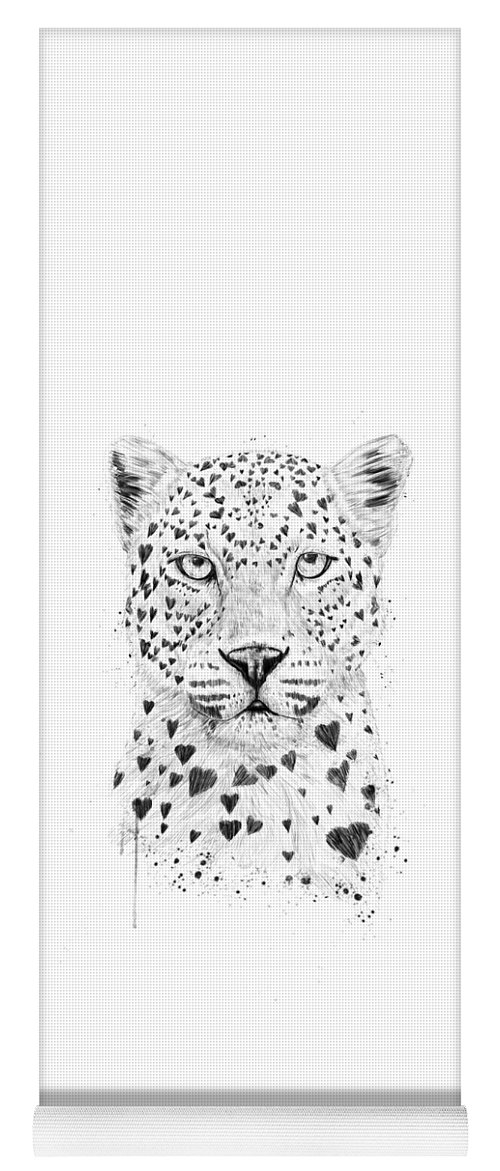 Leopard Yoga Mat featuring the drawing Lovely leopard by Balazs Solti