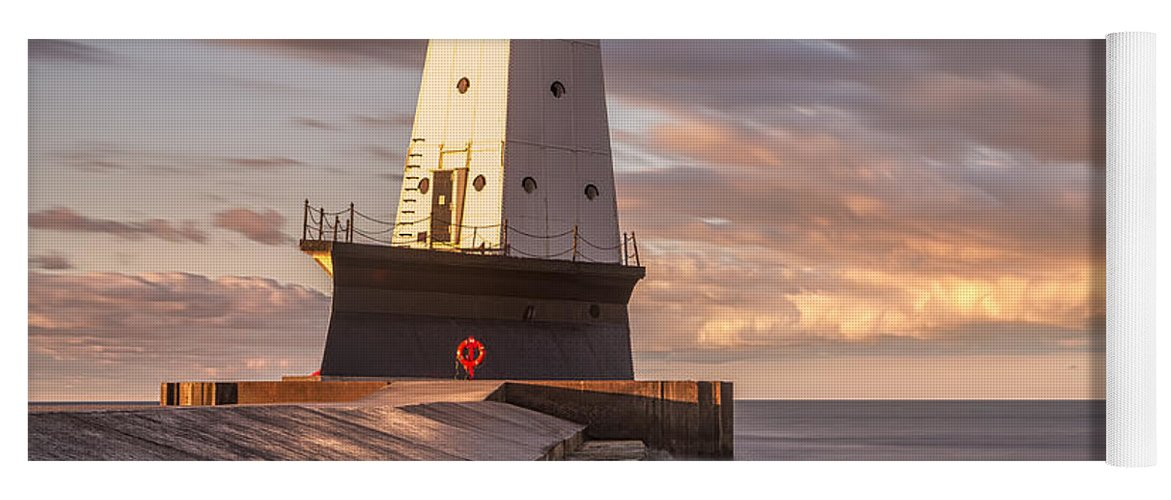 3scape Yoga Mat featuring the photograph Ludington North Breakwater Light At Dawn by Adam Romanowicz