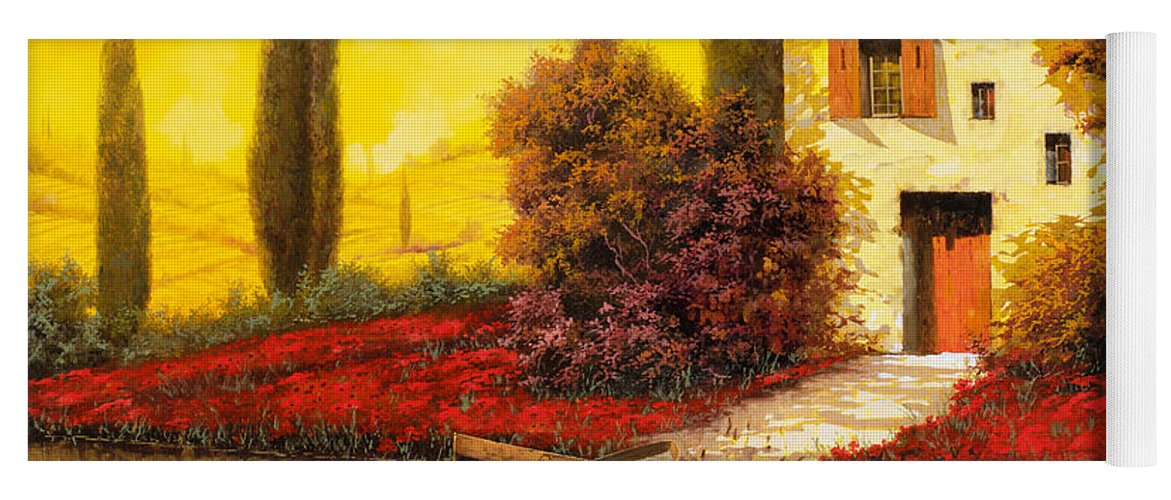 Landscape Yoga Mat featuring the painting Lungo Il Fiume Tra I Papaveri by Guido Borelli