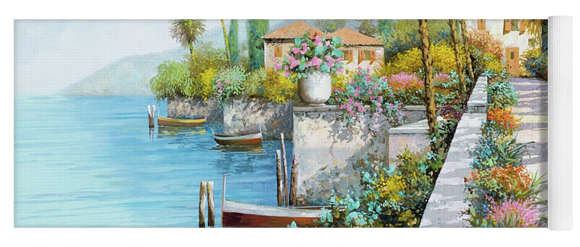 Lake Yoga Mat featuring the painting Lungolago by Guido Borelli